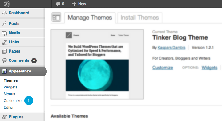 Theme customize link in the WordPress backend for Preseto Themes
