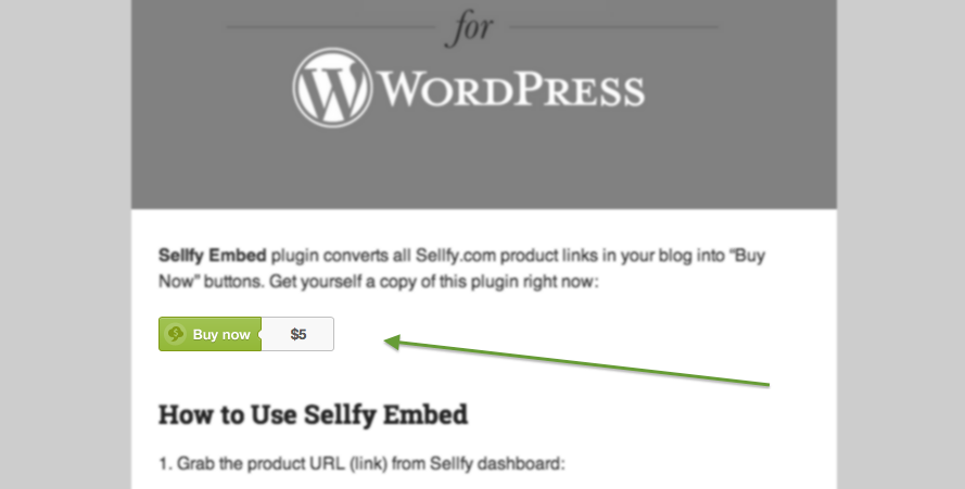 "Sellfy ""Buy Now"" Button Embedded in WordPress"