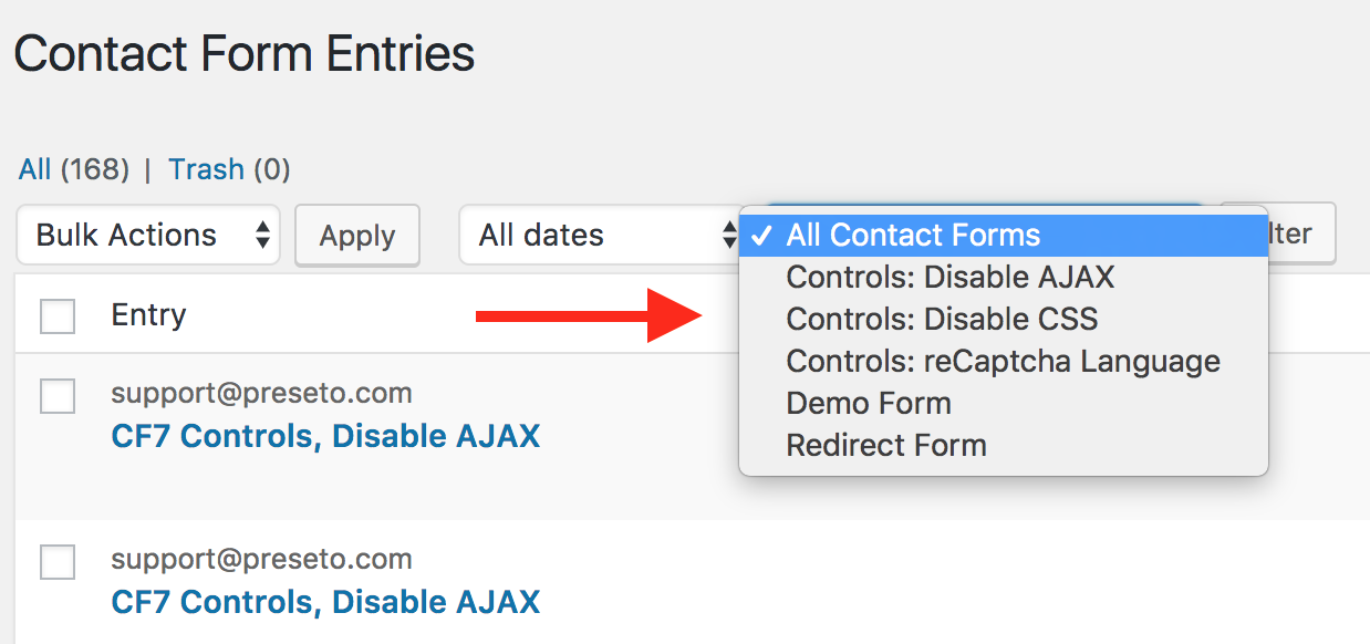 Filter contact form 7 submissions by form