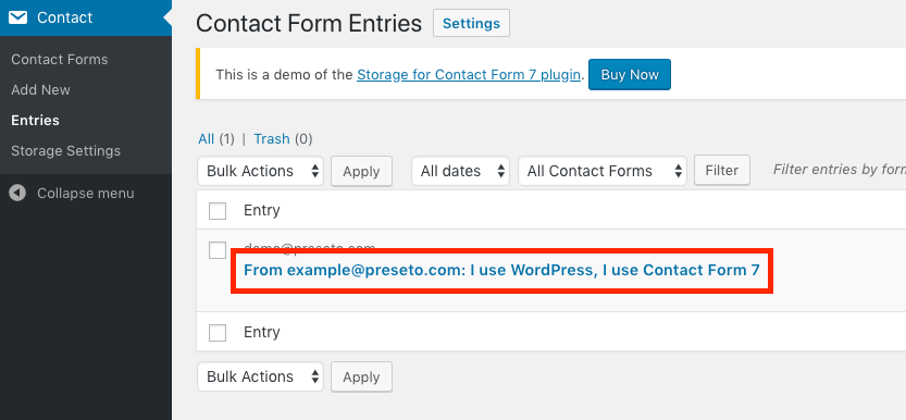 Screenshot of Contact Form 7 Storage entry list view